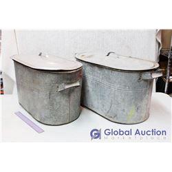 (2) Vintage Metal Tubs