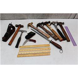 Lot of Misc Vintage Tools (Hammers, Files, Metal Plane)