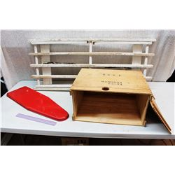 Wooden Crate, Wooden Stand and Child's Ironing Board
