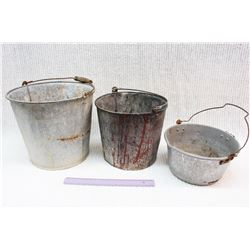 Lot Of 3 Metal Buckets