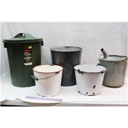 2 Enamel Buckets W/ 2 Garbage Cans And A Metal Bucket W/ Spout