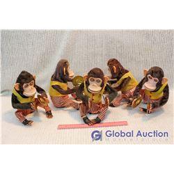 (5) Original 1950s Vintage Cymbal Banging Monkey Toys, Jolly Chimps