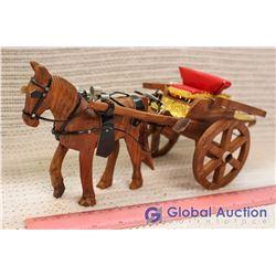 Vintage Wooden Horse & Cart