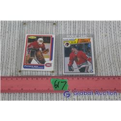 O-Pee-Chee Rookie Cards (2) (Patrick Roy and Steve Larmer)
