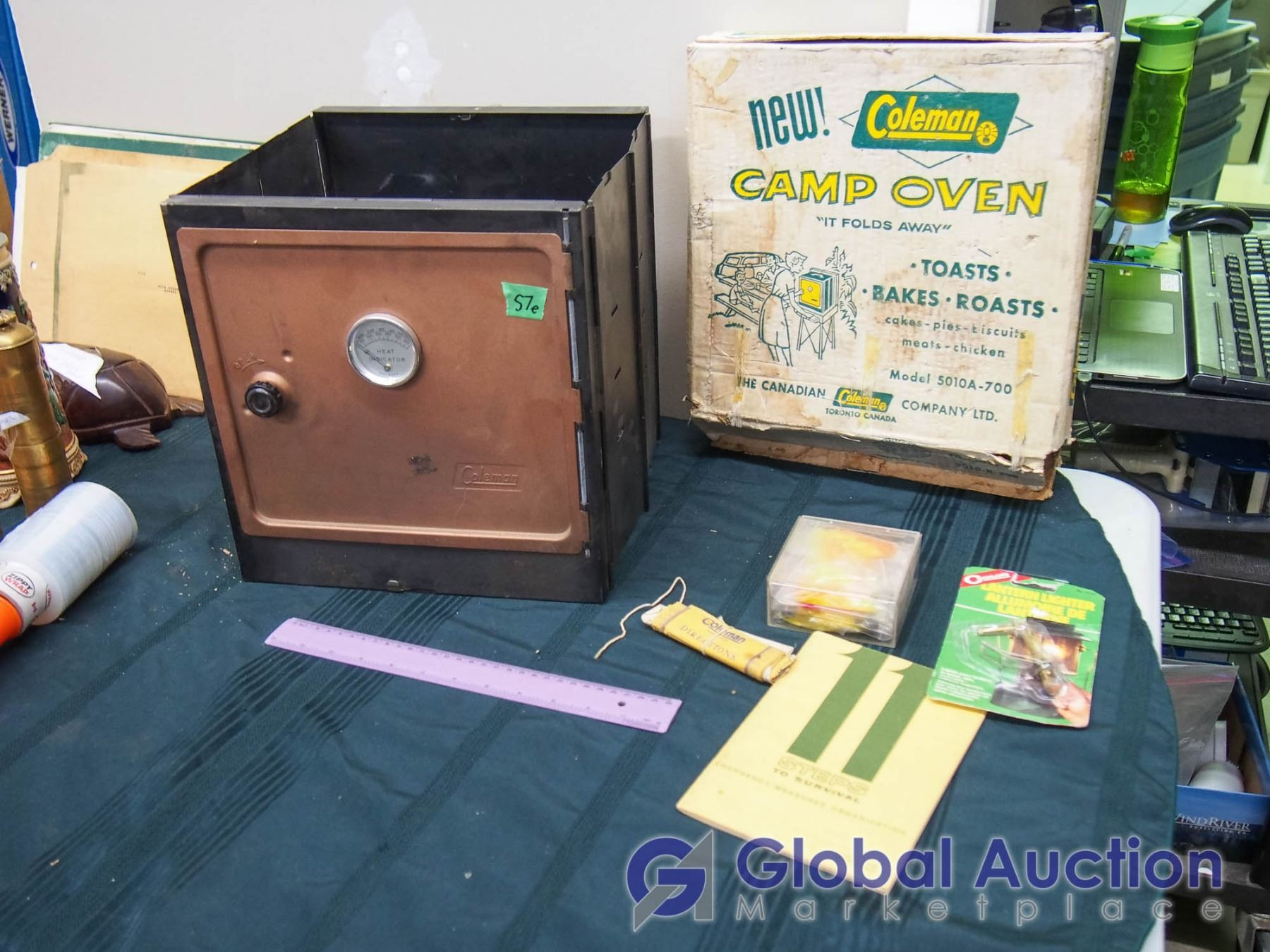 Lot Of Vintage Camping Related (Coleman camp oven w/box, 11 Steps to  Survival, etc)