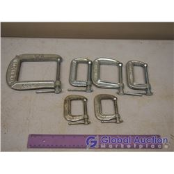 Lot of C-Clamps (6) Various Sizes