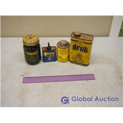 Lot of Shop Tins and Glass with Contents (3 Tins, 1 Glass)