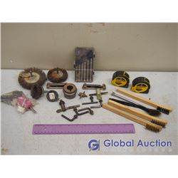 Assorted Tools, Tape Measure, Wire Brushes, Chuck Key