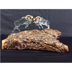 Dueling Bighorns Glass Sculpture