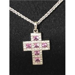 Bez Ambar 18K White Gold Cross Necklace