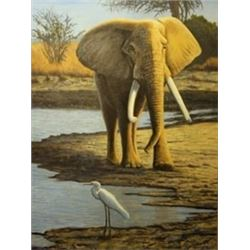 "Artist's Original Painting Title: ""Elephant Encounter"""