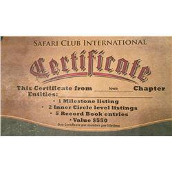 SCI Record Book Certificate