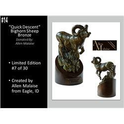 """Bighorn Sheep Bronze, """"Quick Decent"""" By Allen Malaise"""