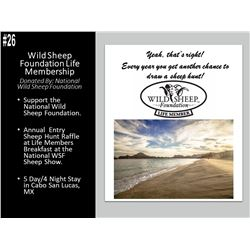 Wild Sheep Foundation Life Membership and 5 Day/4 Night Stay in Cabo