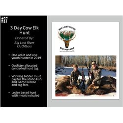3 Day Cow Elk Hunt For 1 Adult and 1 Youth Hunter with Big Lost River Outfitters