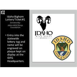 2019 Idaho Bighorn Lottery Tag #1