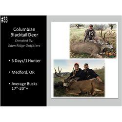 5 Day Columbian Blacktail Deer Hunt For 1 Hunter In Oregon