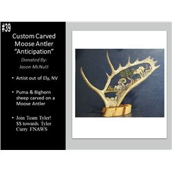 "One Of A Kind, Custom Engraved Moose Antler Carving ""Anticipation"". By Jason Mcnutt"