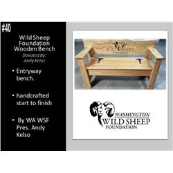 Custom WSF Entryway Bench made by WA WSF President Andy Kelso