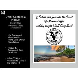 IDWSF Centennial Life Membership, Plaque, Pin, And A 8 Day 7 Night Stay In Hawaii!