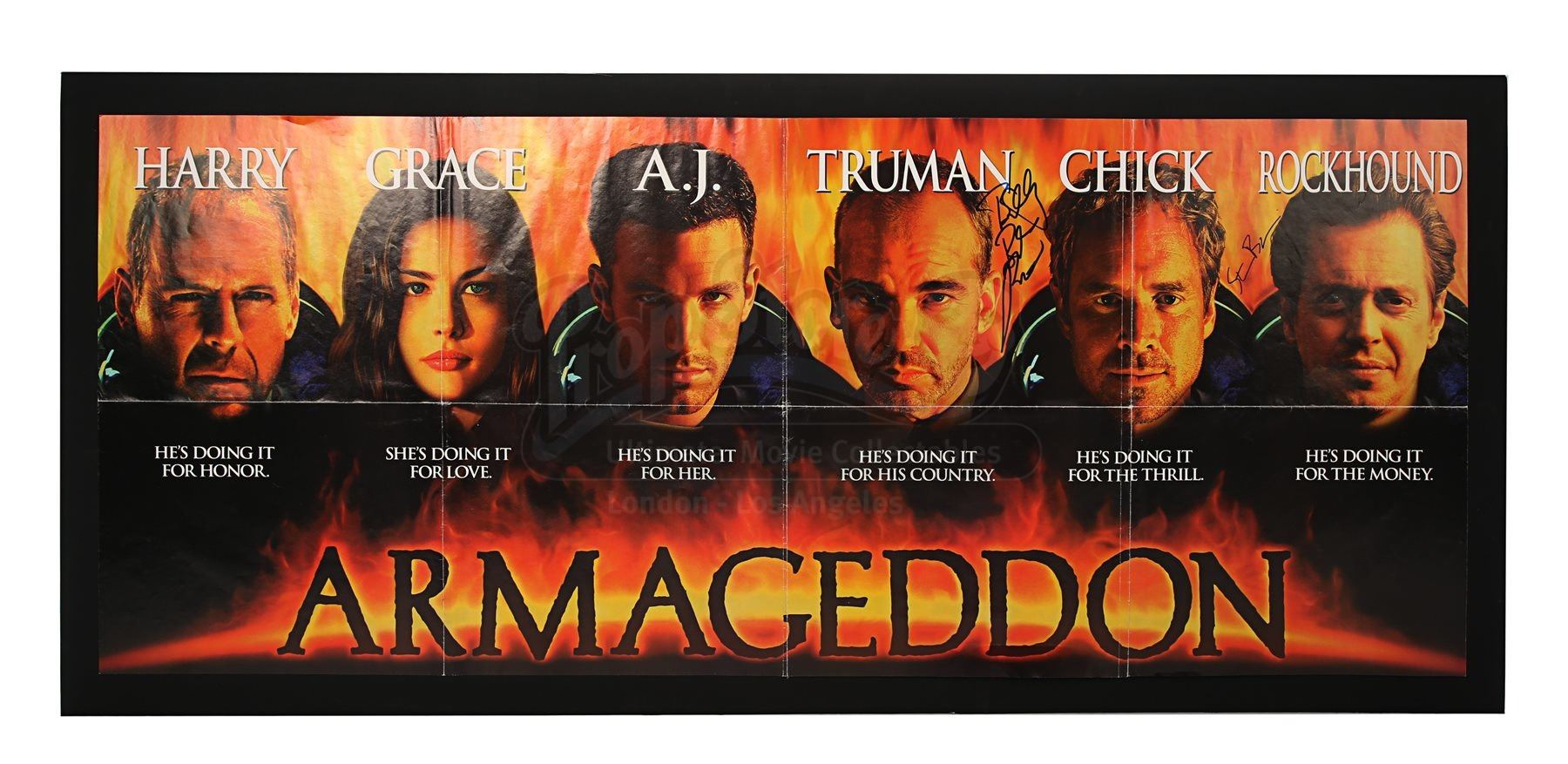 Armageddon 1998 Production Used Clapperboard And Cast Autographed Banner