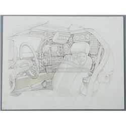 BACK TO THE FUTURE (1985) - Ron Cobb Hand-Drawn DeLorean Interior Artwork
