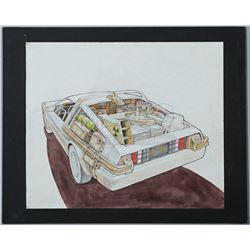 BACK TO THE FUTURE (1985) - Ron Cobb Hand-Drawn DeLorean Coloured Exterior Artwork