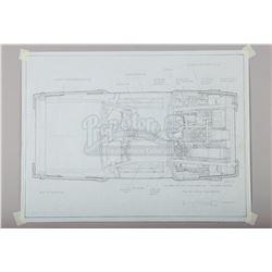 BACK TO THE FUTURE (1985) - Ron Cobb Hand-Drawn DeLorean Overhead Plan Artwork