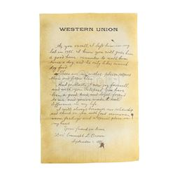 BACK TO THE FUTURE PART II (1989) - Marty McFly's (Michael J. Fox) Oversized Western Union Letter