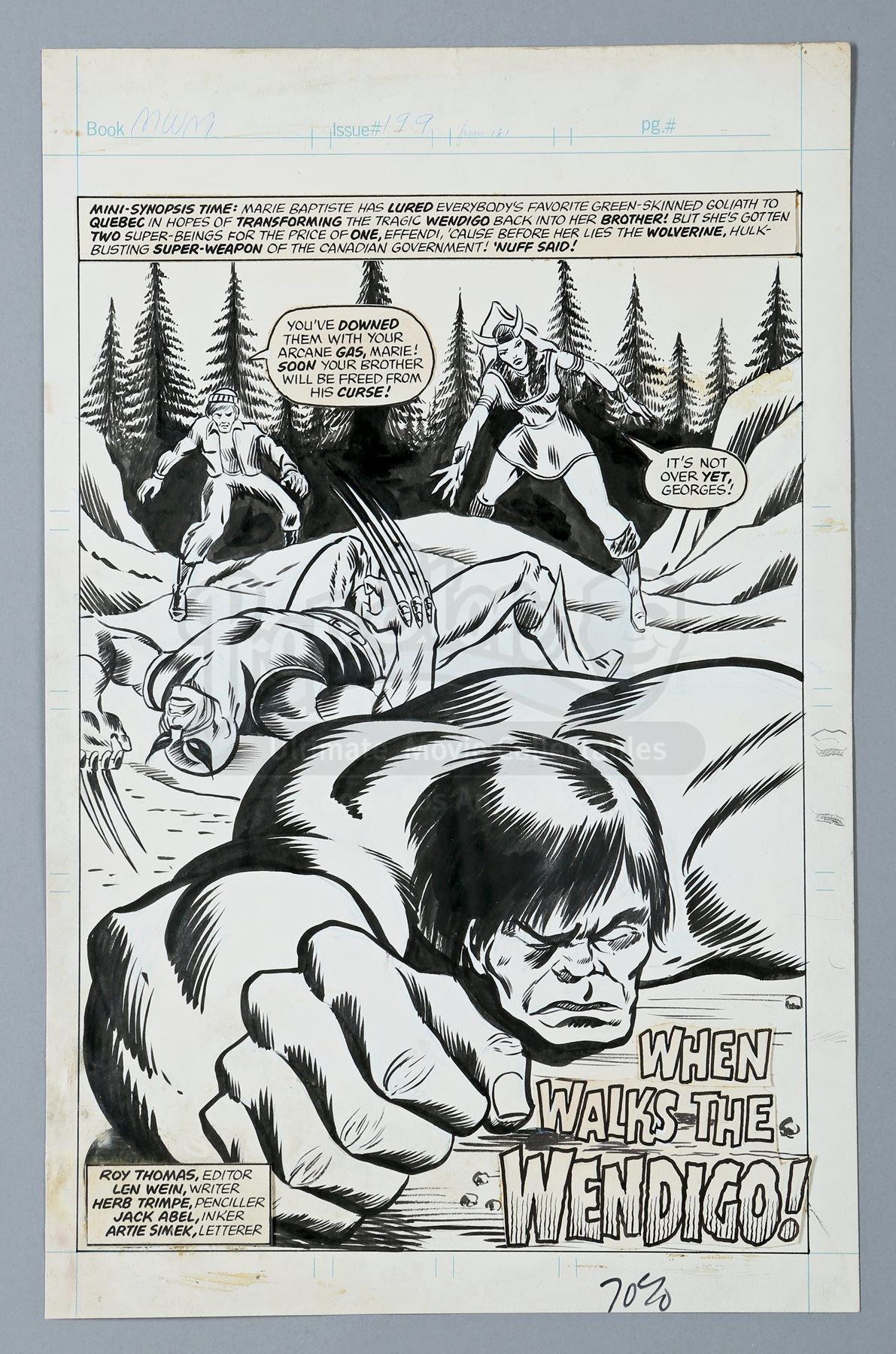 WOLVERINE / MIGHTY WORLD OF MARVEL #199 (1976) - John Romita Jr  and Duffy  Vohland Hand-Drawn Hulk a
