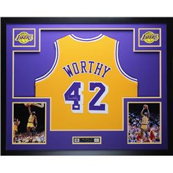 newest 2a005 13286 James Worthy Signed Lakers 35x43 Custom Framed Jersey ...