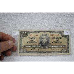 1937 Canada One Hundred Dollar Bill