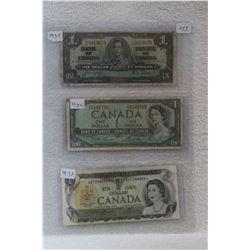 Canada Dollar Bills (3)