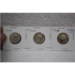 Canada Twenty-five Cent Coins (3)