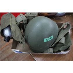 Military Helmet Liner & Web Belt w/Pouches & Canteen