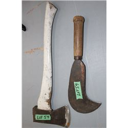 2 1/2 lb. Axe w/Short Handle & a Grub Axe