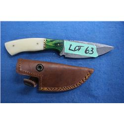 11 cm. Damascus Knife w/Bone & Brass Handle & Leather Sheath