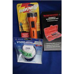 Bilge Pump, Flashlight & a Gun Smith Screwdriver Set