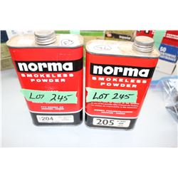 2 Almost Full Tins of Norma Smokeless Powder - #204 & #205