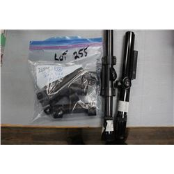 Bag of 22 Rifle Mounts & 2 Scopes