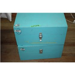 2 Wood Storage Boxes - Painted Green