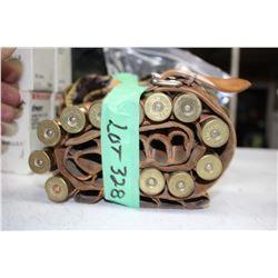 """Leather Ammo Belt w/12 - 12 ga., 3"""" Shot Shells"""