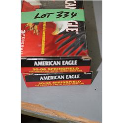 2 Boxes of American Eagle 30.06 SPRG 150 gr. Full Metal Jacket Boat Tail Factory