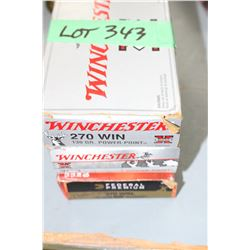 Box of Winchester 270 Win, 130 gr.; a Box of 308 Win, 150 gr. Power Point Factory Ammo & 13 Rnds of