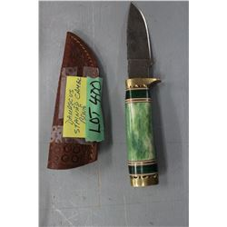 """4.25"""" Stainless Steel Knife w/Stained Camel Bone Handle & Sheath"""