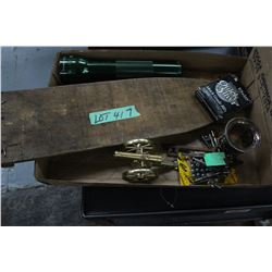 Flat w/a Hide Board; Old Keys; Goblet; Brass Cannon BB's & a Flashlight