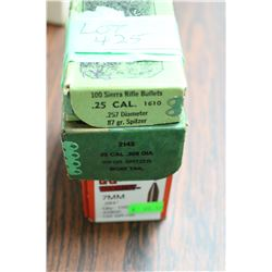 Full Box of 7mm, 100 gr, 24 Rnds of 25 cal., 87 gr & 38 Rnds of 30 cal., 165 gr.