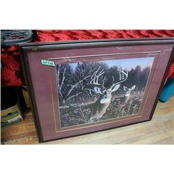 Framed Deer Print; Swans Print & Ducks Unlimited Dog Print