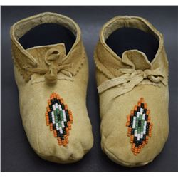 CREE INDIAN CHILD'S MOCCASINS