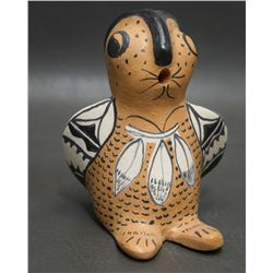 COCHITI INDIAN POTTERY OWL ( SNOWFLAKE FLOWER)